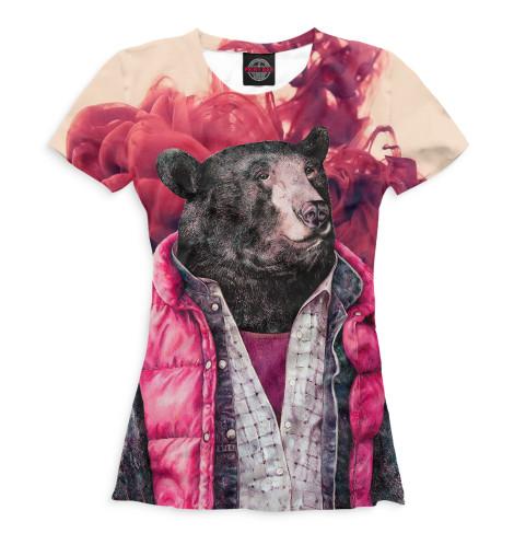 Женская футболка Медведь в жилетке
