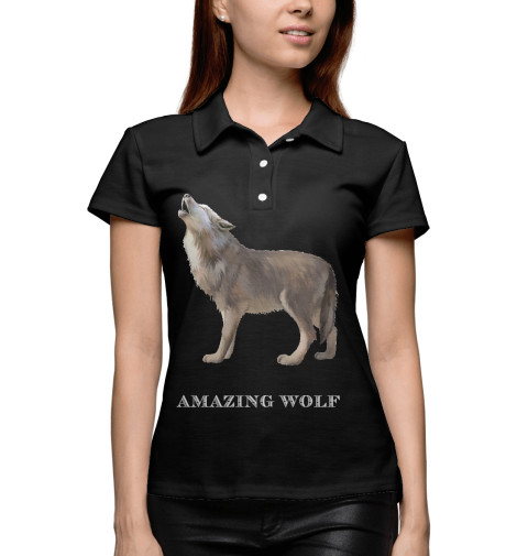 Поло Print Bar amazing wolf utterly amazing science