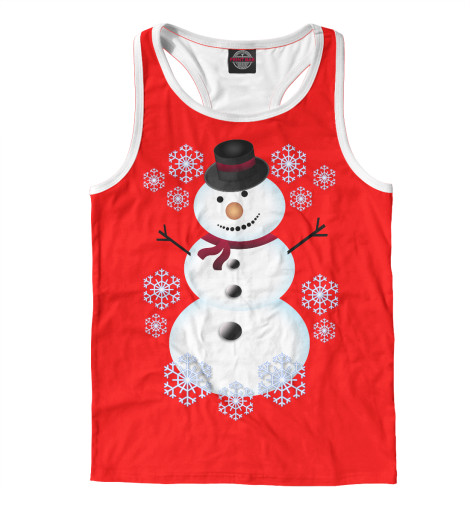 Фото - Мужская майка-борцовка Снеговик от Print Bar белого цвета