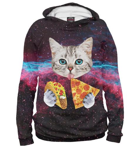 Фото - Женское худи Котик с Пиццей от Print Bar белого цвета