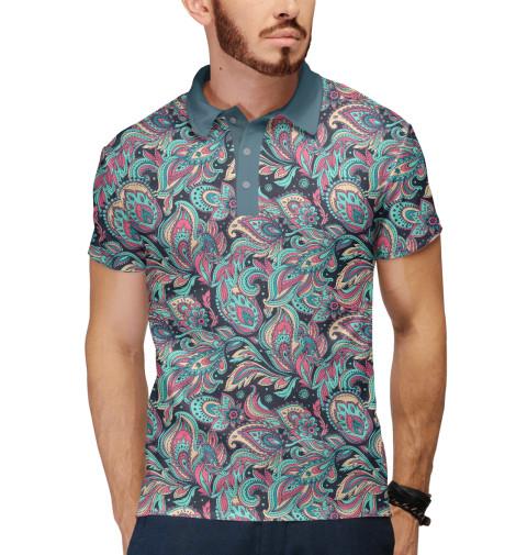 Фото - Мужское поло Цветочные узоры от Print Bar белого цвета