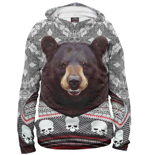 Мужское худи Медведь в свитере