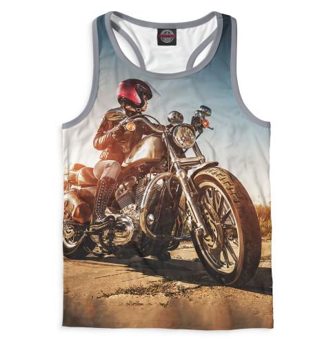 Мужская майка-борцовка Девушка на мотоцикле