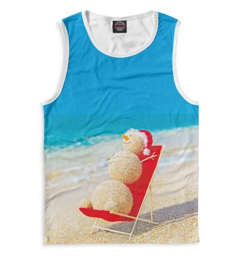 Мужская майка Снеговик на пляже