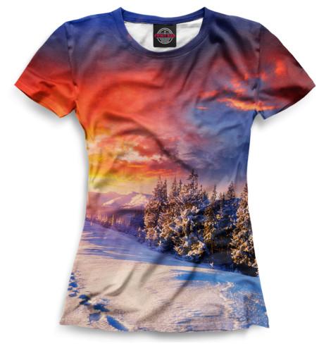 Женская футболка Зима