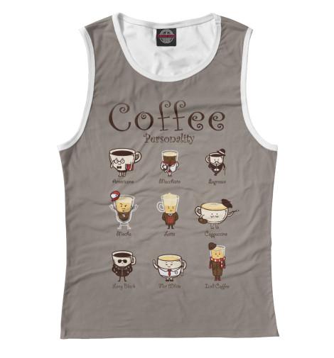 Фото - Женская майка Coffee Personality от Print Bar белого цвета