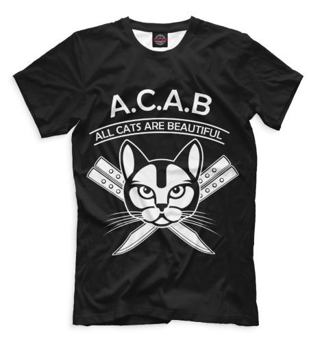 Фото - Мужская футболка A.C.A.B. от Print Bar белого цвета