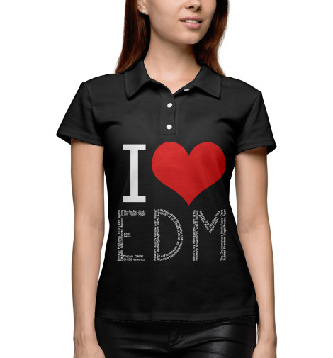 Поло Print Bar I love EDM