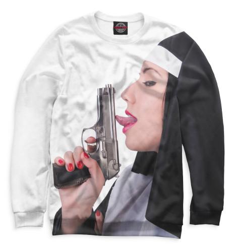 Женский свитшот Монашка с пистолетом