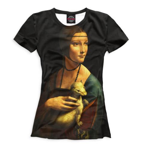Женская футболка Дама с горностаем