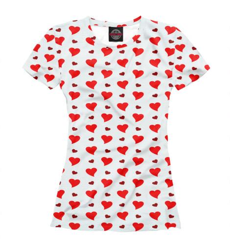 Фото - Женская футболка Сердечки от Print Bar белого цвета