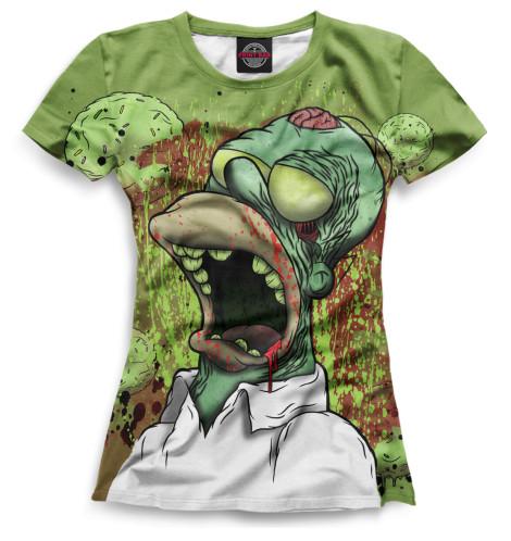Женская футболка Гомер-зомби