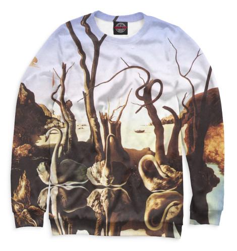 Мужской свитшот Лебеди, отражающиеся в слонах