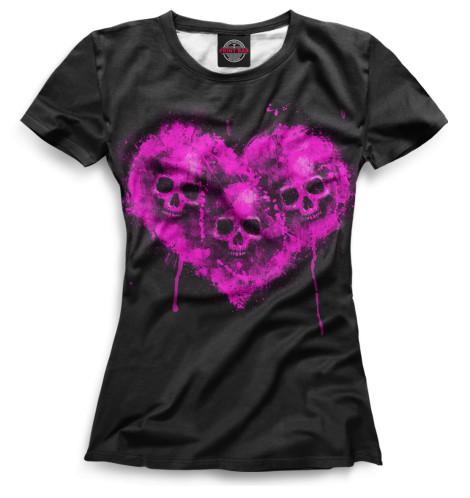 Женская футболка Черепа в сердце