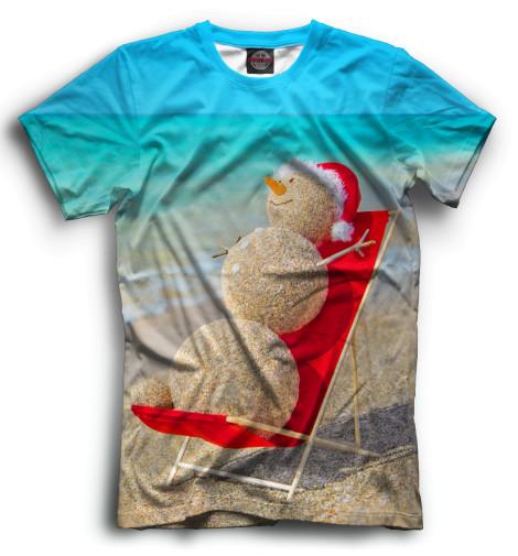 Мужская футболка Снеговик на пляже