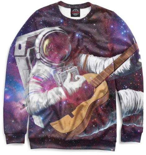 Женский свитшот Космонавт с гитарой