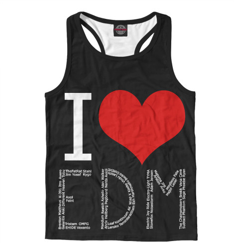 Майка борцовка Print Bar I love EDM майка борцовка print bar i love you