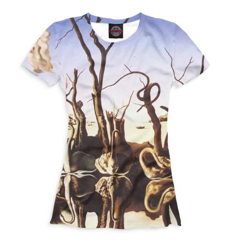 Женская футболка Лебеди, отражающиеся в слонах