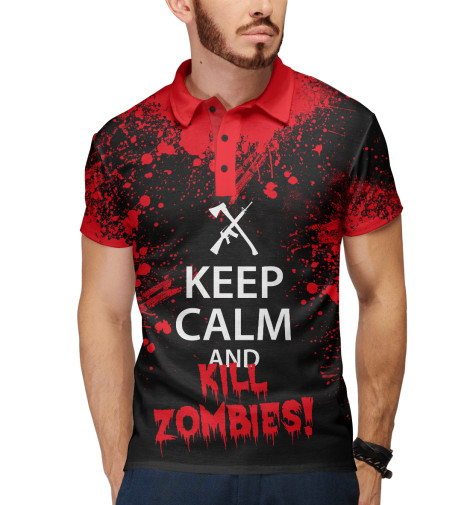 Поло Print Bar Keep Calm & Kill Zombies мягкие игрушки plants vs zombies котенок 15 см