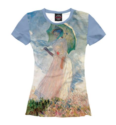 Футболка Print Bar Клод Моне. Прогулка. Женщина с зонтиком картина из кожи дама с зонтиком моне коллекция elole interior синий сплошн холст прямоуг рама