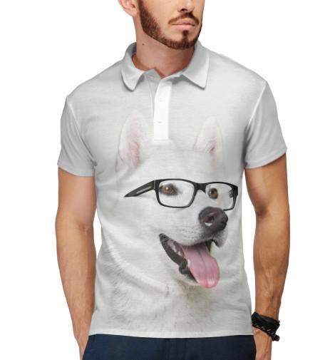 Поло Print Bar Хаски в очках щенков хаски в балашихе