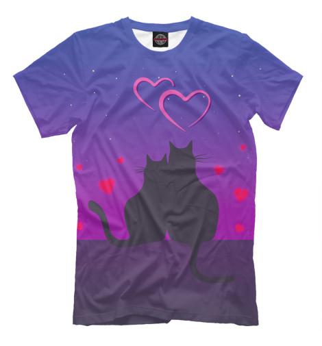 Фото - Мужская футболка Cat's desire. Парные футболки. от Print Bar белого цвета