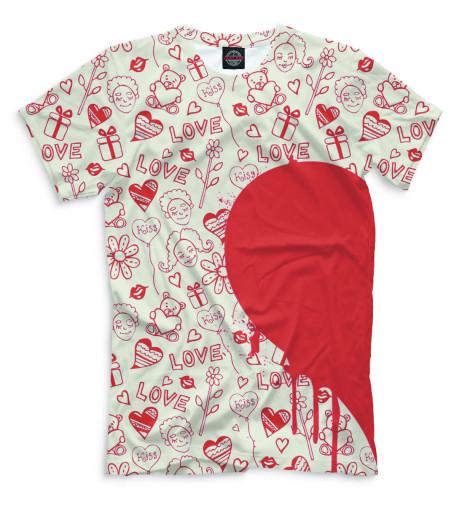 Мужская футболка Половинки сердца