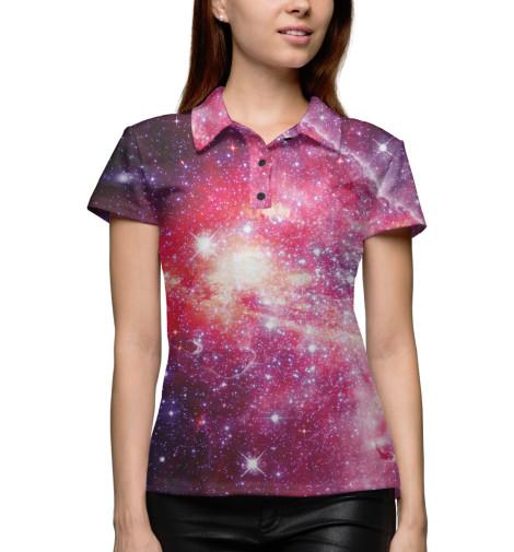Фото - Женское поло Космос от Print Bar белого цвета