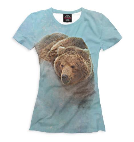 Женская футболка Медведь в тумане