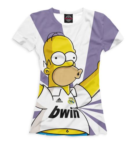 Женская футболка Гомер и Реал Мадрид