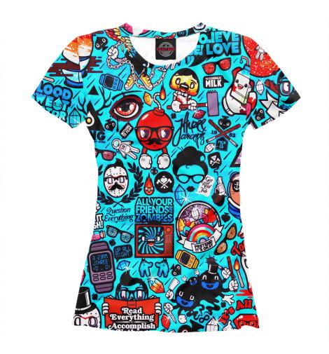 Фото - Женская футболка Стикербомбинг от Print Bar белого цвета