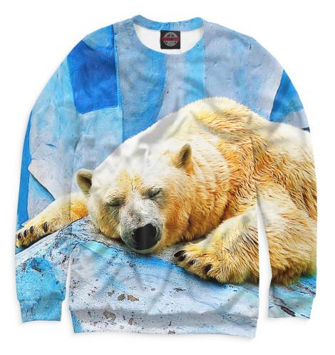 Женский свитшот Спящий белый медведь