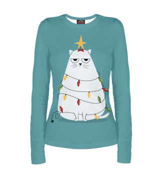 Женский лонгслив Cute christmas cat