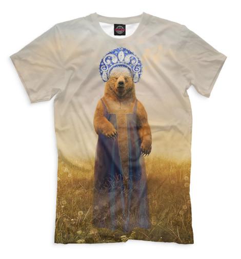Футболка Print Bar Медведица в сарафане незамерзающая жидкость белая медведица купить в перми