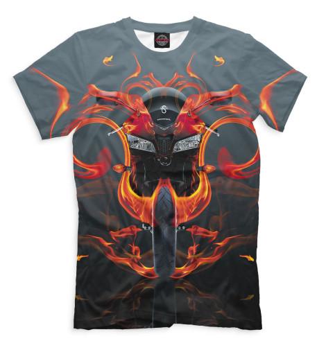 Мужская футболка Мотоцикл в пламени