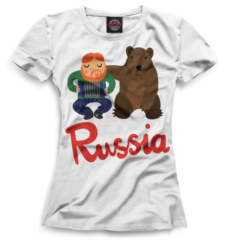 Женская футболка Медведь и гармонист