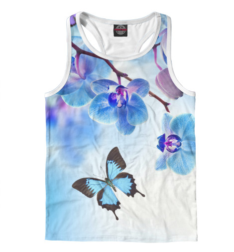 Фото - Мужская майка-борцовка Цветы и бабочка от Print Bar белого цвета
