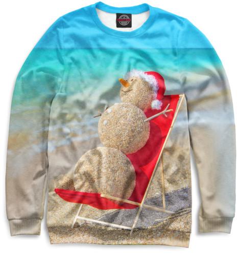 Женский свитшот Снеговик на пляже