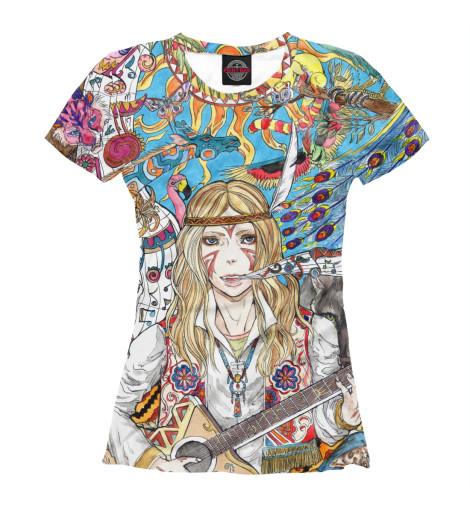 Фото - Женская футболка Гитаристка от Print Bar белого цвета