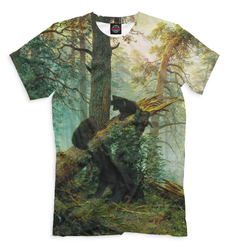 Мужская футболка Утро в сосновом лесу