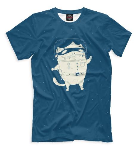 Мужская футболка Кот и лисичка в космосе