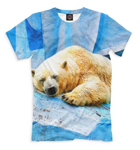 Мужская футболка Спящий белый медведь
