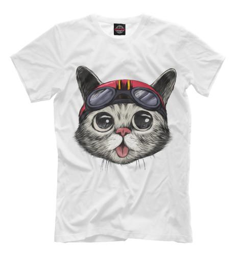 Футболка Print Bar Байкер Кот футболка с полной запечаткой для девочек printio кот кот