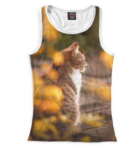 Женская майка-борцовка Осенний кот