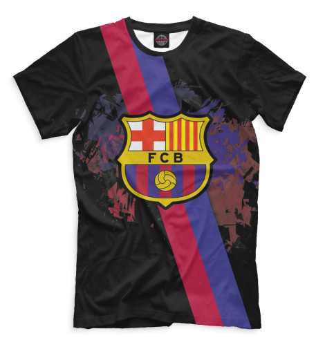 Мужская футболка FCB герб и лента