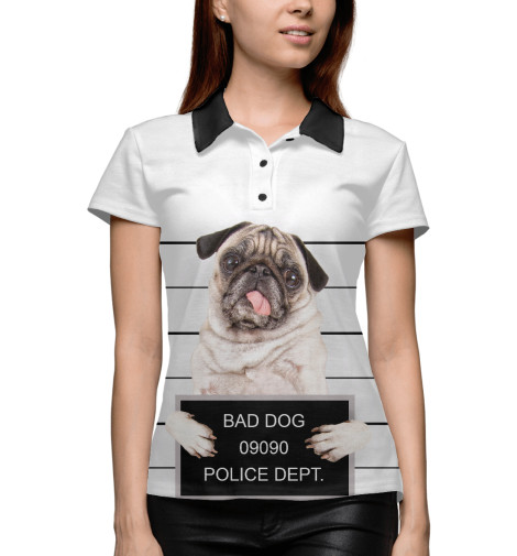 Купить Поло для девочки Мопс DOG-884448-pol-1
