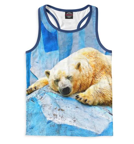Мужская майка-борцовка Спящий белый медведь Print Bar MED-797307-mayb-2
