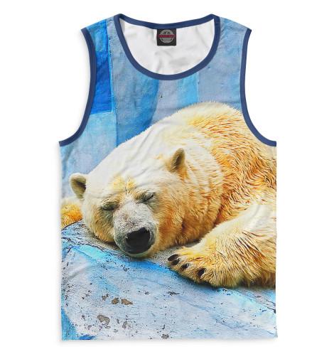 Мужская майка Спящий белый медведь