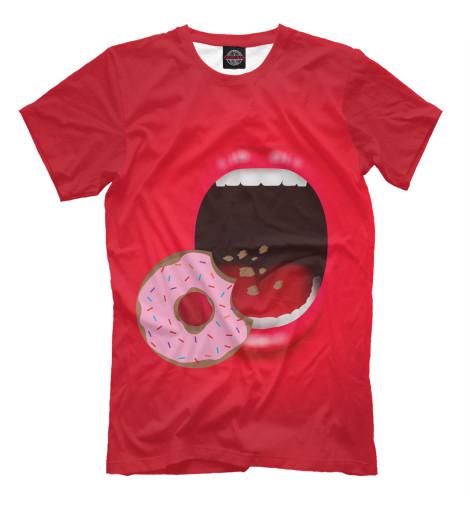 Фото - Мужская футболка Пончик от Print Bar белого цвета