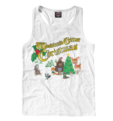Майка борцовка Print Bar Рождество у лесных зверей цена